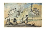 People on Swings in a Bath Pleasure Garden, C.1800 Giclee Print by John Nixon