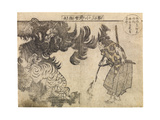Spectator Watching a Tiger Being Attacked by a Dragon, Probably 1910s Giclee Print by Katsushika Hokusai
