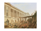 Demolition of the Hotel De Bourbon and Clearing the Louvre Colonnade, C.1764 Giclee Print by Pierre Antoine Demachy