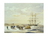 Sledge Party Leaving H.M.S. Investigator in Mercy Bay, 15th April 1853, Engraved by E. Walker,… Giclee Print by Samuel Gurney Cresswell