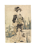 Lady 'Bijin' Reading Paper on a Bridge, C.1811-17 Giclee Print by Ipposai Kuniyasu
