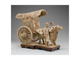 Two-Wheeled Ox Cart with Ox and Two Standing Attendants Giclee Print by Tang Dynasty Chinese School