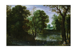 Landscape with a River and Sportsmen Shooting Ducks Giclee Print by Marten Ryckaert