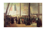 Queen Victoria I, Received Aboard the Steamer 'Le Gomer' by the Rear Admiral Lasusse, 15th… Giclee Print by Francois Auguste Biard