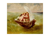 Cupids in a Shell, C.1855-59 Giclee Print by John George Naish