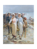 Oyster Girls at Cancale Giclee Print by Francois Nicolas Augustin Feyen-Perrin