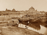Bridge of Boats over the Gumti River, Near the Chattar Manzil and Fusseed Bakah or Old Palace Photographic Print by Felice Beato
