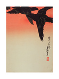 Crows in Flight at Sunrise, 1888 Giclee Print by Shibata Zeshin