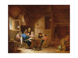 An Interior with Peasants Playing Cards Lámina giclée por Hendrik Martensz Sorgh