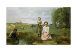 Children Beside a Brook in the Countryside, Lormes Giclee Print by Jean-Baptiste-Camille Corot