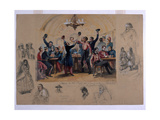 Scene in the Cafe Du Commerce Valetta, 'Mourir Pour La Patrie', Malta, 1854 Giclee Print by Henry John Wilkinson