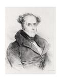 Francois-Rene, Vicomte De Chateaubriand, Engraved by Lemercier Giclee Print by Achille Deveria