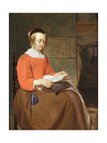 A Young Woman Seated in an Interior, Reading a Letter Giclee Print by Gabriel Metsu