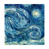 The Starry Night, June 1889 (Detail) Giclee Print by Vincent van Gogh