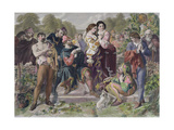 Orlando and the Wrestler, from 'As You Like It' by William Shakespeare, Engraved Charles W. Sharpe Giclee Print by Daniel Maclise
