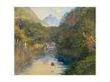 Ford at the Upper End of the Vai-Te-Piha (Tautira River) Tahiti Giclee Print by John La Farge