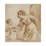 Mother and Child with Pail Giclee Print by  Guercino (Giovanni Francesco Barbieri)