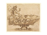 Design for an Elaborate Urn with Putto and Vines Giclée-tryk af Francesco De Rossi Salviati Cecchino