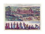 Arrival of Queen Elizabeth I at Nonesuch Palace and Men and Women from Tudor Society, 1598 Giclee Print by Joris Hoefnagel