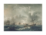 The Ramillies Waterlogg'D, with Her Admiral and Crew Quitting the Wreck, Engraved by Francis… Giclee Print by Robert Dodd