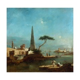Obelisk Beside the Entrance to a Walled Harbour Giclee Print by Francesco Guardi