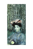 Portrait of Nadezhda Zabela-Vrubel with Birch Trees in the Background Giclée-Druck von Mikhail Aleksandrovich Vrubel