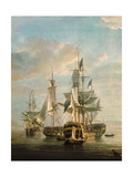 Nelson's Flagships at Anchor, 1807 (Detail) Giclee Print by Nicholas Pocock