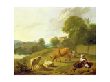 A River Landscape with Cattle, Sheep and a Young Girl Playing with a Dog Giclee Print by Simon van der Does