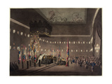 Remains of Lord Viscount Nelson Laying in State in the Painted Chamber at Greenwich Hospital,… Giclee Print by Augustus Charles Pugin