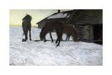 Stallions at Water-Pond Giclee Print by Valentin Aleksandrovich Serov