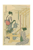 Weaving the Silk, No.12 from 'Joshoku Kaiko Tewaza-Gusa', C.1800 Giclee Print by Kitagawa Utamaro