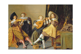 An Elegant Company Playing Music in an Interior Giclee Print by Dirck Hals