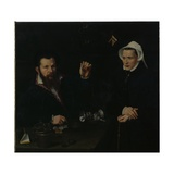 A Goldsmith and His Wife, C.1550-60 Giclee Print by Nicolas Neufchatel