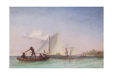 The Long Boat of the Messenger Attacked by Natives Giclee Print by Thomas Baines