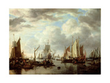 Shipping before Dordrecht, 1651 Giclee Print by Simon Jacobsz. Vlieger