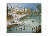 Skaters on a Frozen River Alongside a Town Giclee Print by Joos or Josse de, The Younger Momper