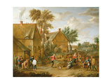 A Game of Bowls by a Tavern Giclee Print by Alexander Van Bredael