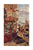 Solemn Joust on London Bridge Between David De Lyndsays and Lord John De Welles in 1390,… Giclee Print by Richard Beavis