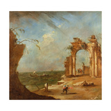 Capriccio with a Ruined Arch Giclee Print by Francesco Guardi