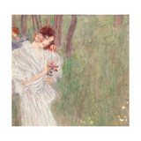 Girl in a White Dress Standing in a Forest Giclee Print by Gustav Klimt