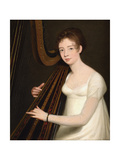 Portrait of a Young Woman Playing the Harp Giclee Print by Robert Home