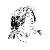 Portrait of Jane Francesca Agnes Wilde as Madame De Recamier Giclee Print by Harry Furniss
