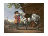 A Cavalier with a Grey Horse Giclee Print by Abraham van Calraet