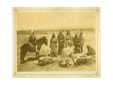 Indians Killing and Cutting Up a Steer, 1868 Giclee Print by Alexander Gardner