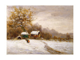 Gypsy Caravans in the Snow Giclee Print by Leila K. Williamson