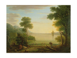 Classical Landscape with Figures and Animals, Sunset, 1754 Giclee Print by John Wootton