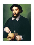 Portrait of a Gentleman with His Right Hand Pointing to a Skull, C.1540 Giclee Print by  Master of the 1540s