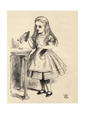 Alice Peering at the Drink Me Bottle, from 'Alice's Adventures in Wonderland' by Lewis Carroll,… Giclee Print by John Tenniel
