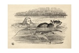 Alice Swimming with a Mouse in the Pool of Tears, from 'Alice's Adventures in Wonderland' by… Giclee Print by John Tenniel