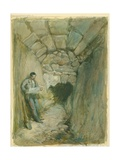 Rock-Cut Conduit under Robinson's Arch, Jerusalem, 1871 (W/C and Pencil on Paper Giclee Print by William 'Crimea' Simpson